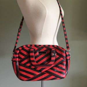 MARC by MARC JACOBS red and black striped satchel